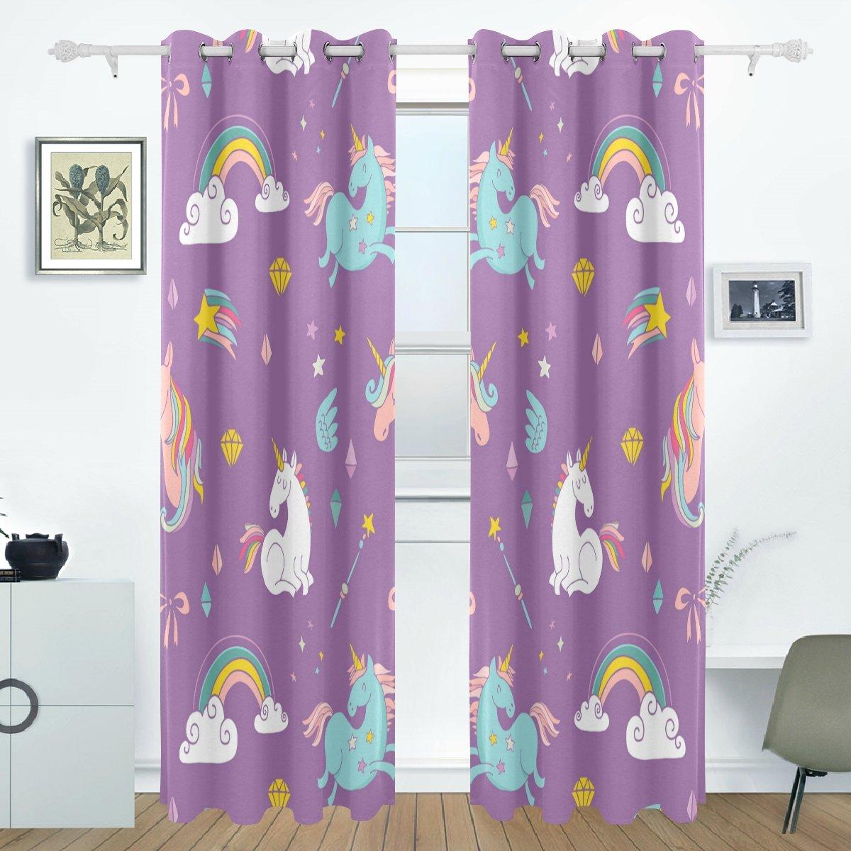 BENNIGIRY Einhorn Verdunklungsvorhänge Abdunkelung isoliert Polyester Tülle Top Rollo Vorhang für Schlafzimmer, Wohnzimmer, 2 Panel (55 W X 84L Zoll)