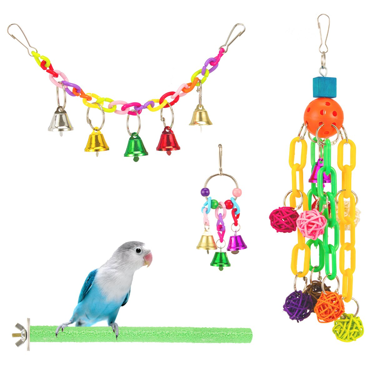MEWTOGO 4 Pack Bird Toys - Bird Swing Toy + Colorful Beads Bells +Wooden Bird Stand +Hanging Chewing Toy for Budgie Lovebirds Conures Parakeet