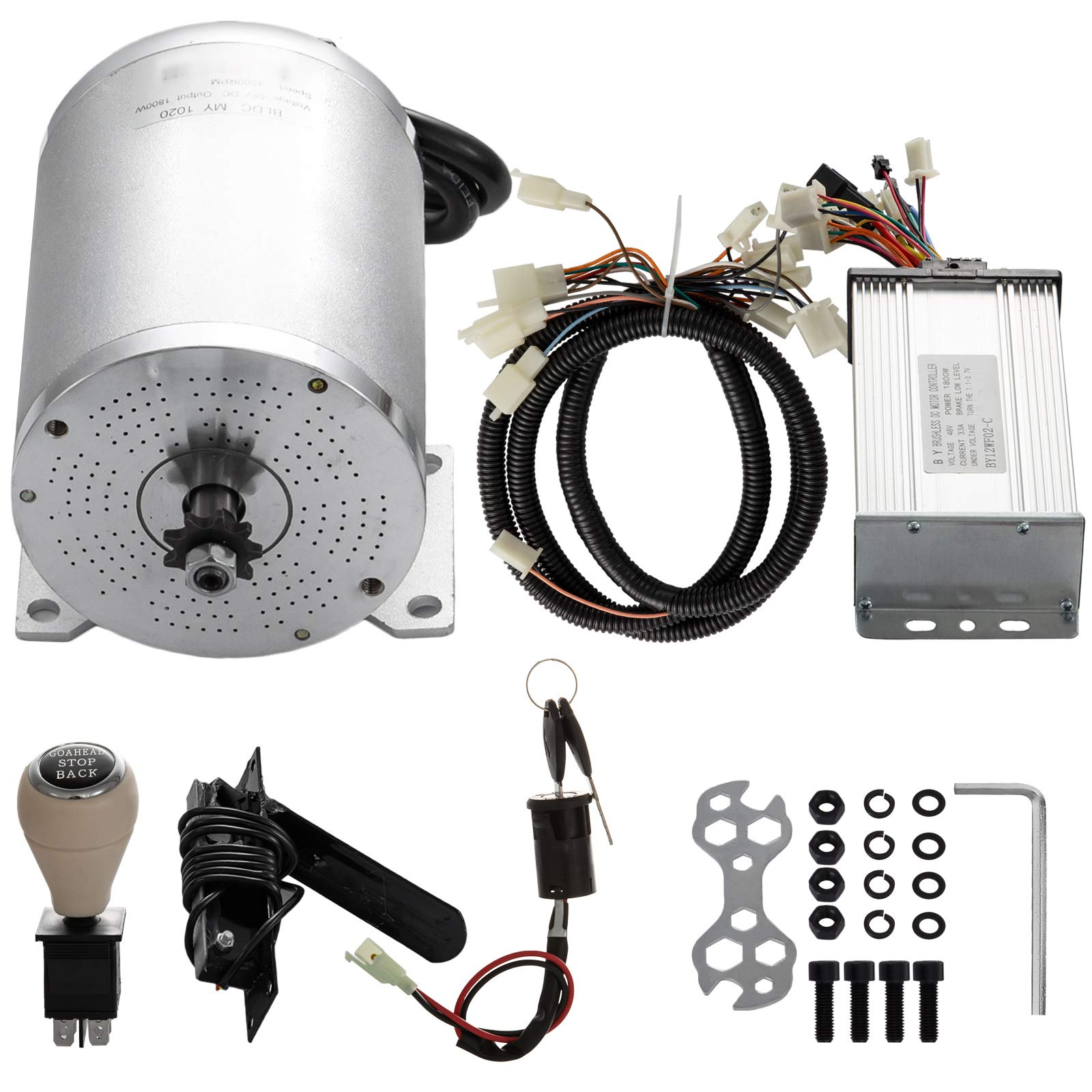 Mophorn Electric Brushless Motor 48V DC 1000 Watt with Controller & Pedal &Charger 9 Tooth 8 Chain Sprocket and Mounting Bracket for Go Karts Scooters & E-Bike