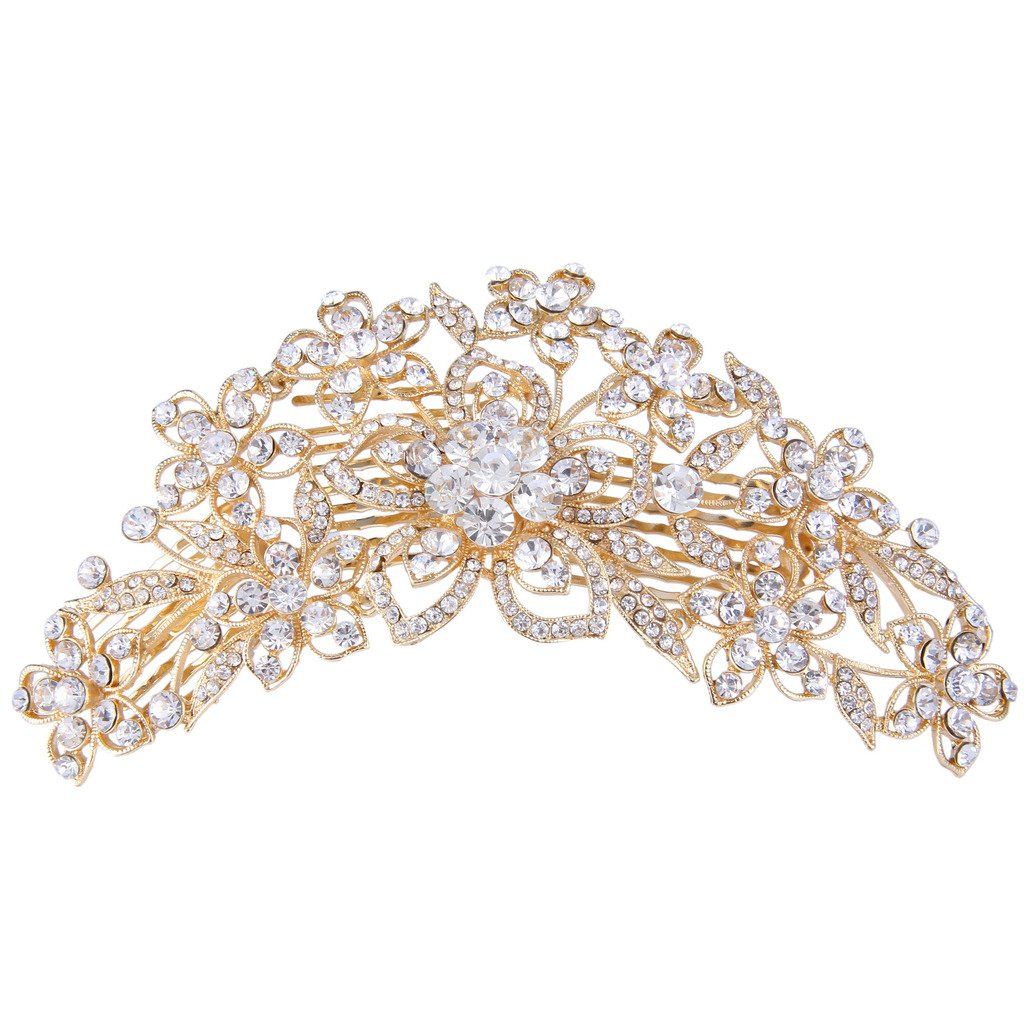 Ever Faith 6.3 inch Bridal Flower Cluster Austrian Crystal Clear Hair Comb Pin A09910-3