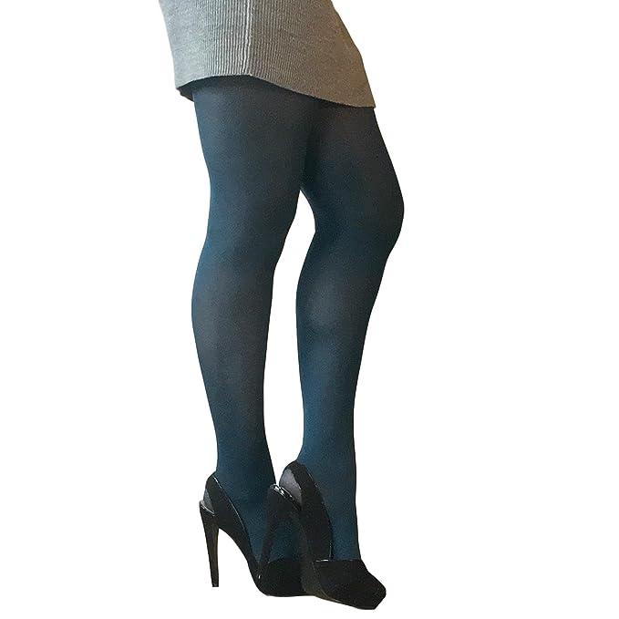 b0ab045bd3d39 Essexee Legs Women's Plus Size Opaque Tights. EL528. 40DEN. 1 Pair. Teal.:  Amazon.co.uk: Clothing