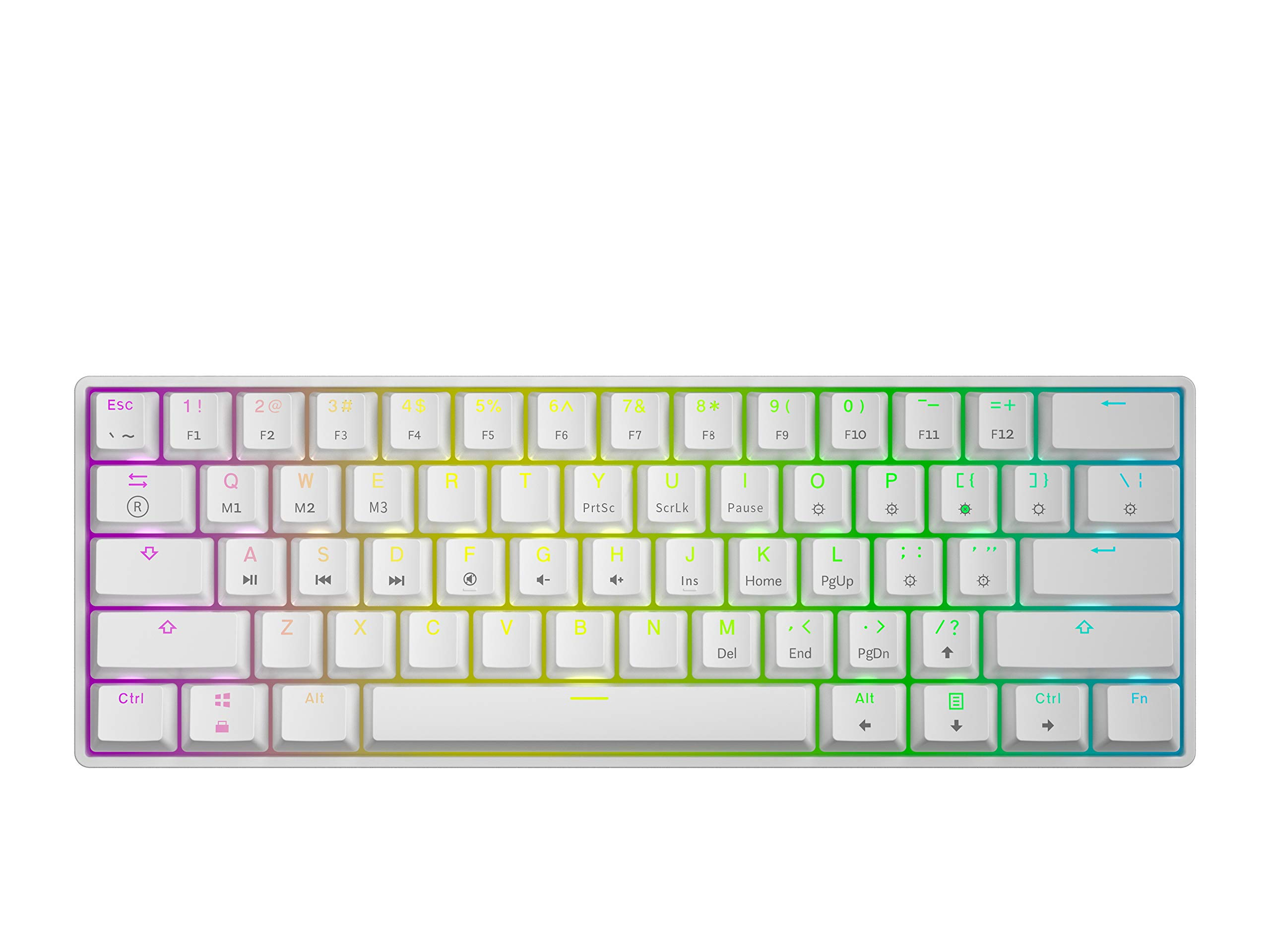 GK61 Mechanical Gaming Keyboard - 61 Keys Multi Color RGB Illuminated LED Backlit Wired Programmable for PC/Mac Gamer (Gateron Optical Brown, White)