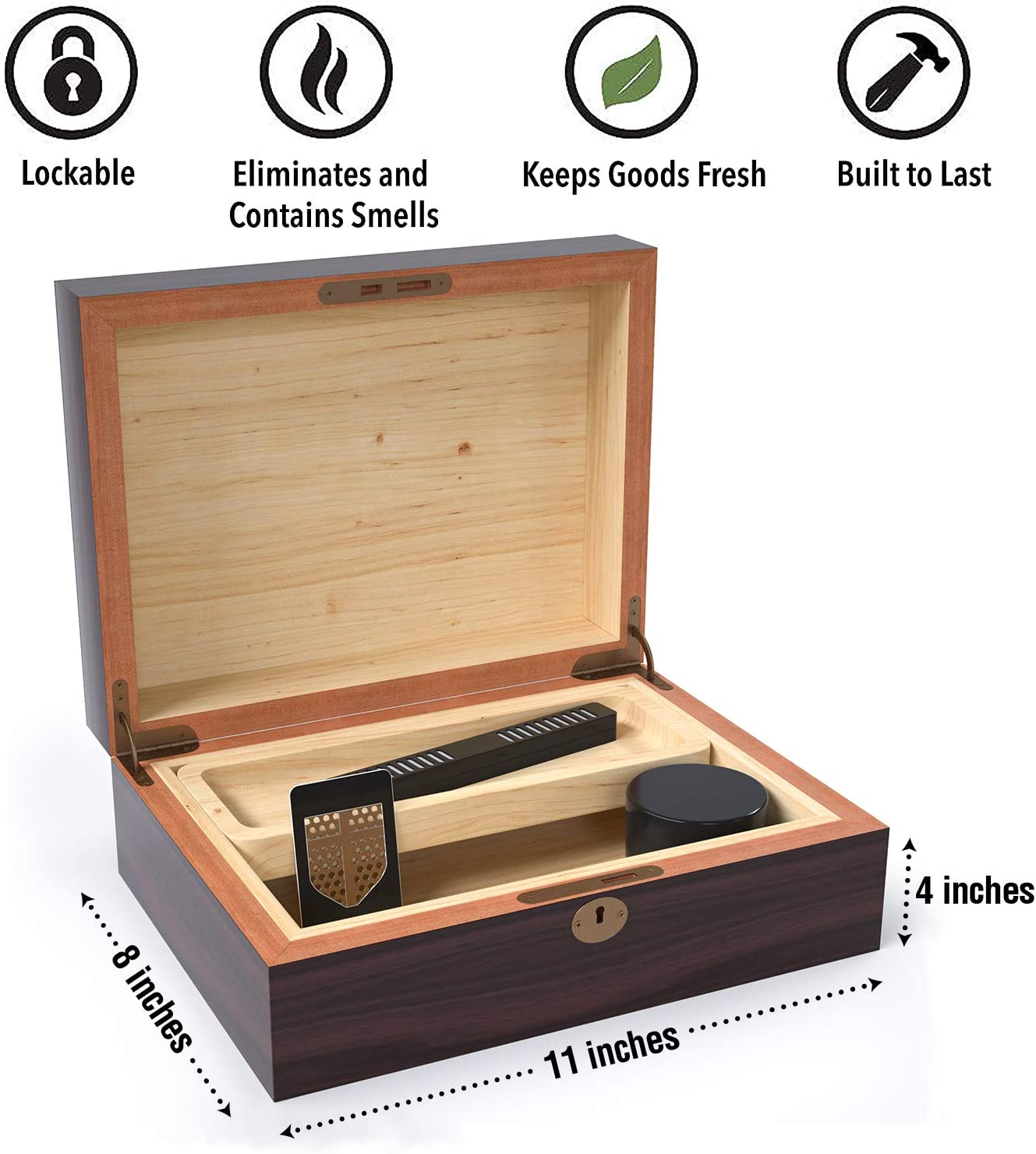 Rolling Tray and Humidifier to Keep Goods Fresh Includes Smell Proof Jar Locking Wood Stash Box by Herb Guard Nearly Double The Size of Leading Competitors