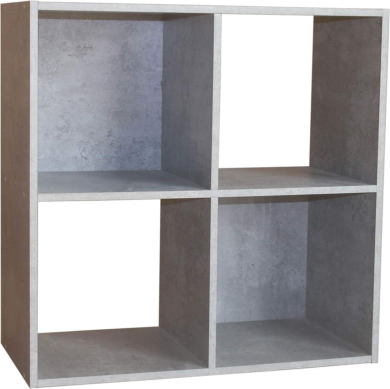 HTI-Line Regal Thekla 6060 B/ücherregal CD Regal Wandpaneel Raumteiler Standregal Vitrine aus Holz Aktenregal Universal Beton