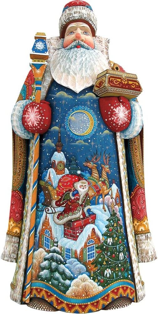 G. Debrekht Carved Wood and Hand-Painted Special Delivery Santa, 14""