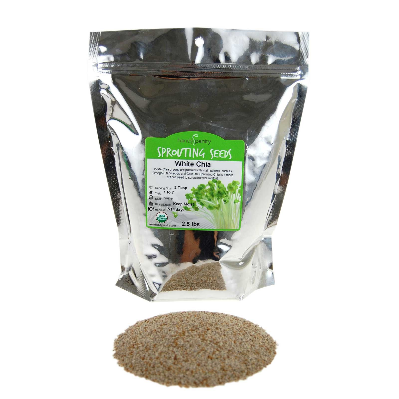 Handy Pantry Organic White Chia Seeds- 2.5 Lbs- Sprouting Seeds for Growing Sprouts, Chia Pet Refills, Food Storage, Sprout Salad by Handy Pantry
