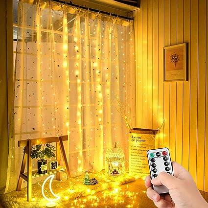 Mitening Tenda luminosa Bianco Caldo 300 LEDs Tenda di Luci 3 x 3m Telecomando 8 Modalit/à di Illuminazione Impermeabile Stringa Luce Catena per Decorare Interni e Esterni Salotto Natale Matrimonio