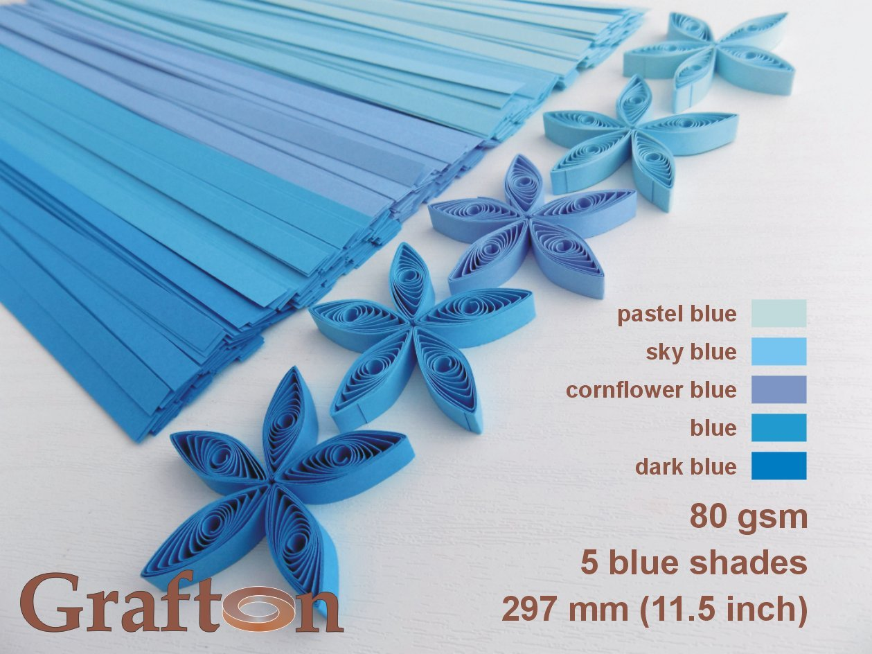 5 BLUE shades x 100 strips per pack, 500 Paper Quilling Strips, 3mm (1/8 Inch) wide, 297 mm (11.5 Inch) long, 80 gsm, Solid Colors, DIY PaperCraft, BL PS 3 GraftonPL BL PS 3 USA