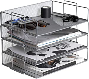 Klickpick Office 4 Tier Stackable Heavy Duty Metal Desktop Letter Tray File Organizer Sorter Desk Document Organizer Shelf Tray Magazine Holder Paper File Newspaper Organizer Tray - Silver