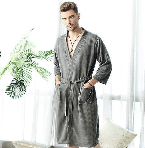 BIANJESUS Pijamas para Hombre Batas de baño Ropa de Dormir de algodón Toalla Bata de baño Bata de baño: Amazon.es: Deportes y aire libre
