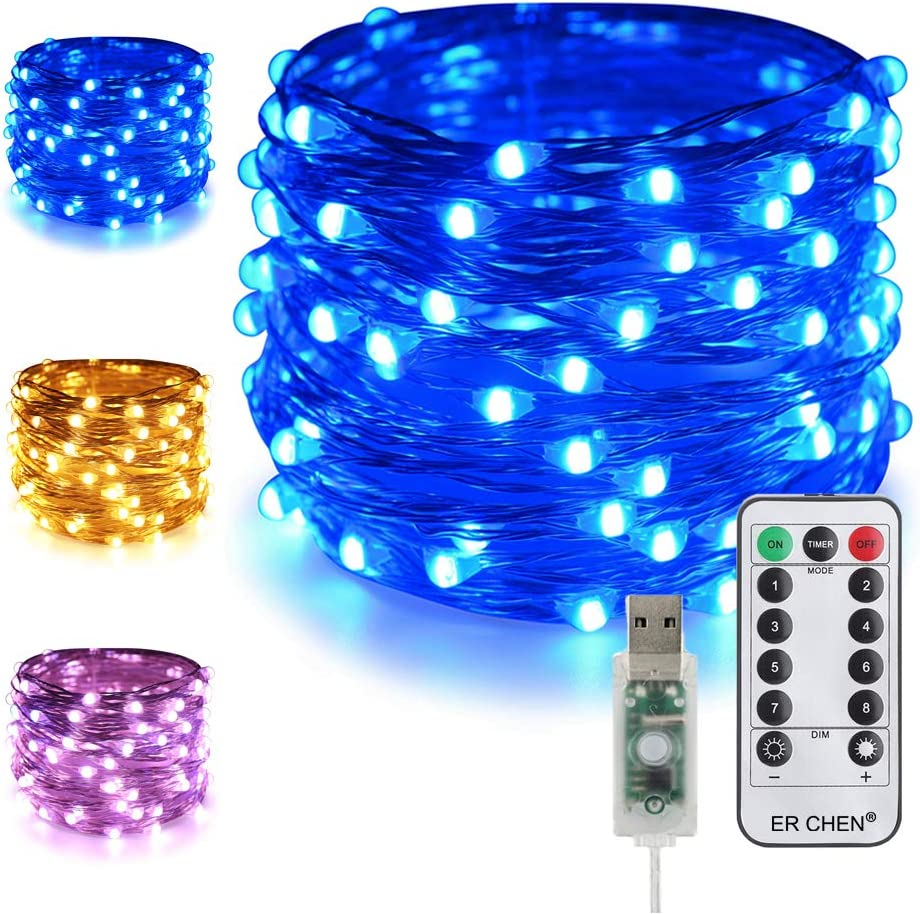 USB RGB String Lights 33ft 100 LED Fairy Lamp with 28 Key Remote Outdoor Indoor