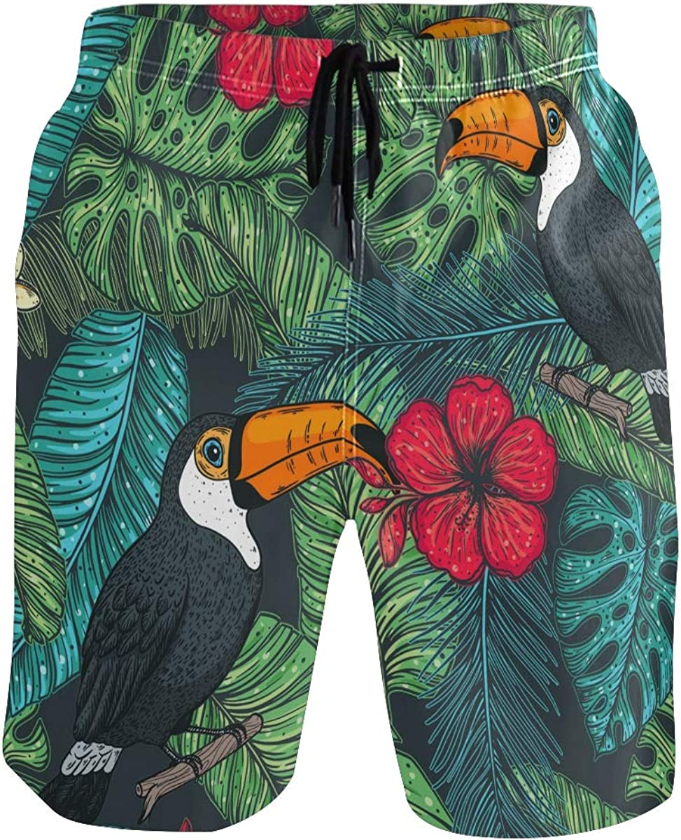 ALAZA Toucan and Palm Leaves Swim Trunks Quick Dry Beach Shorts Beachwear with Mesh Lining Bathing Suits for Men Boys