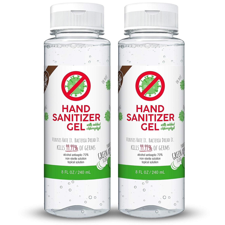 Kelly's Delight Hand Sanitizer Gel Scented 70% Alcohol, 8 fl oz (Green Apple w/Chlorophyll, 2 Pack)