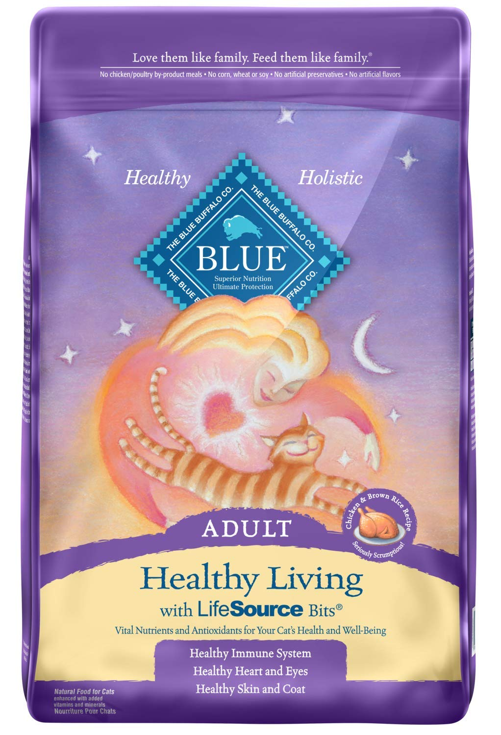 Blue Buffalo Healthy Living Natural Adult Dry Cat Food, Chicken & Brown Rice 15-lb by Blue Buffalo
