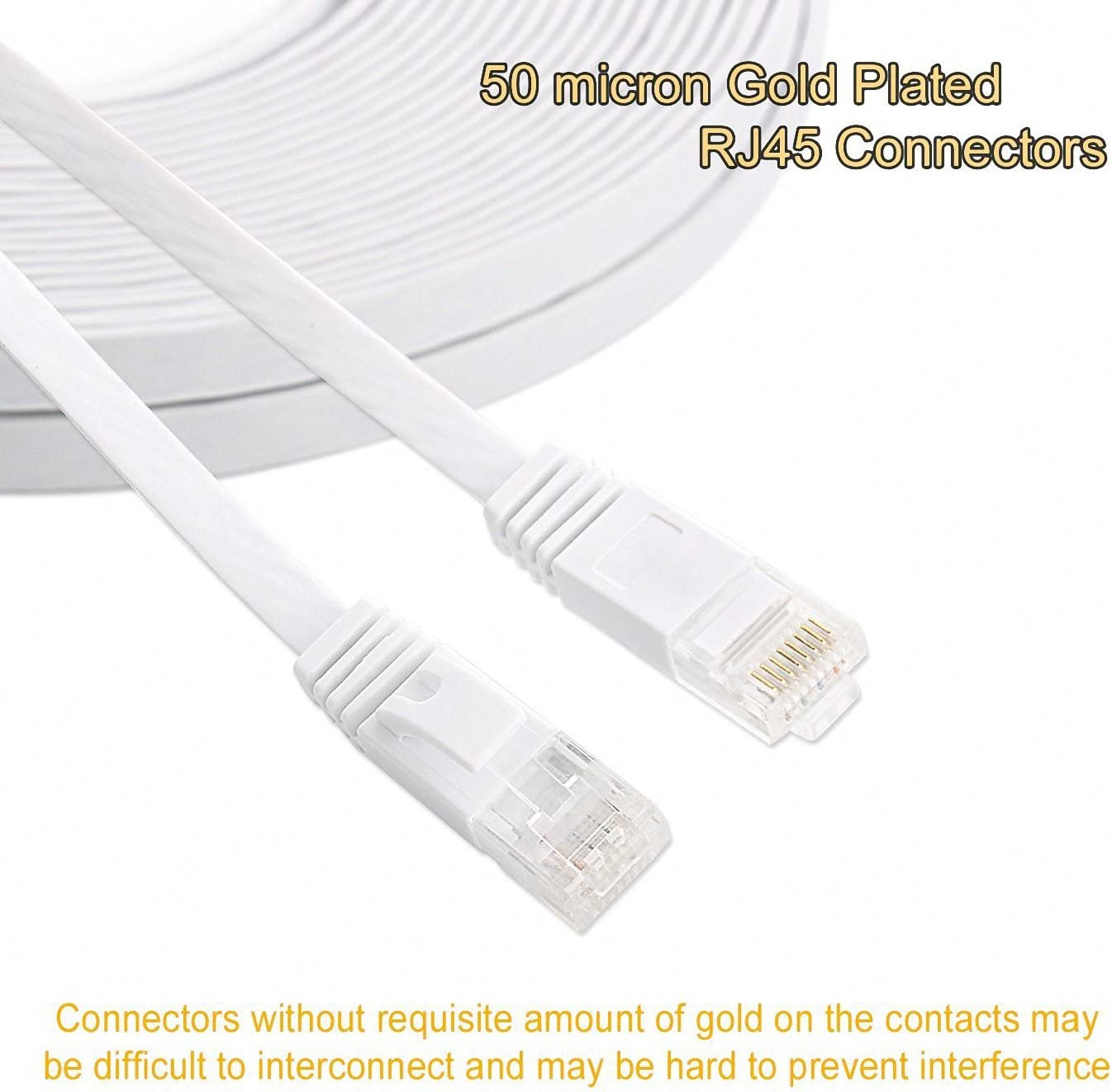 Cat 6 Ethernet Cable 200 FT Flat Internet Network Cables with Cable Clips Cat6 Ethernet Patch Cable With Snagless Rj45 Connectors White Computer Lan Cable(200FT)