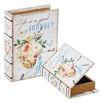 Cajas Libro de Flores Forradas en Tela Blancas románticas para decoración Vitta - LOLAhome
