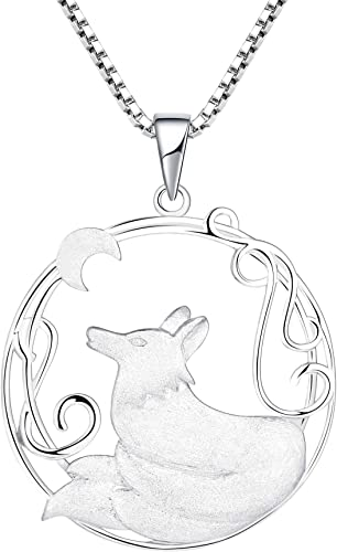 YL Fox Necklace Sterling Silver Round Fillgree Pendant Moon Jewelry Women Gifts