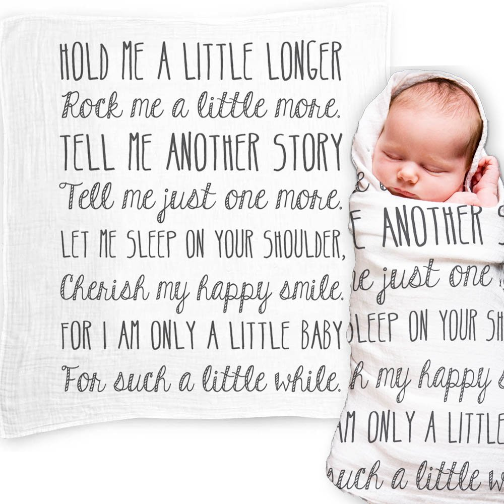 Ocean Drop Designs - White Muslin Swaddle Blankets - Hold Me A Little Longer Quote - for Christening, Baptism, Baby Shower, Godchild Gift - 100% Cotton, Breathable - Machine Washable (47''x47'') by Ocean Drop Designs
