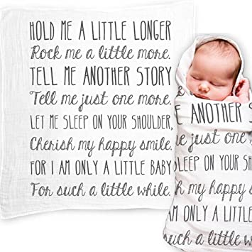 Ocean Drop Designs - White Muslin Swaddle Blankets - Hold Me A Little  Longer Quote - for Christening, Baptism, Baby Shower, Godchild Gift - 100%  ...