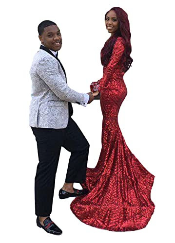 DYS Women's Red Mermaid Prom Dress V Neck Evening Formal Gowns Long Sleeves