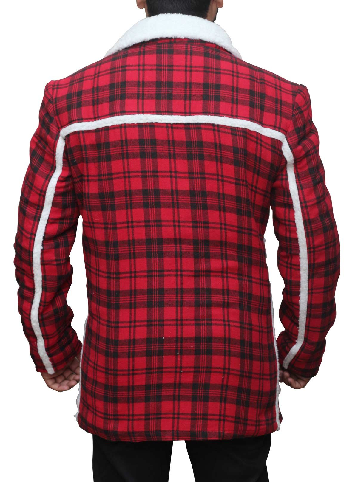 Deadpool Ryan Reynolds Red cotton flannel Shearling Jacket 3XL by fjackets (Image #4)