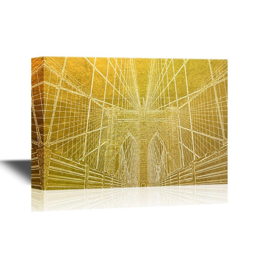 Golden Color Landmark Brooklyn Bridge New York Gallery - Canvas Art ...