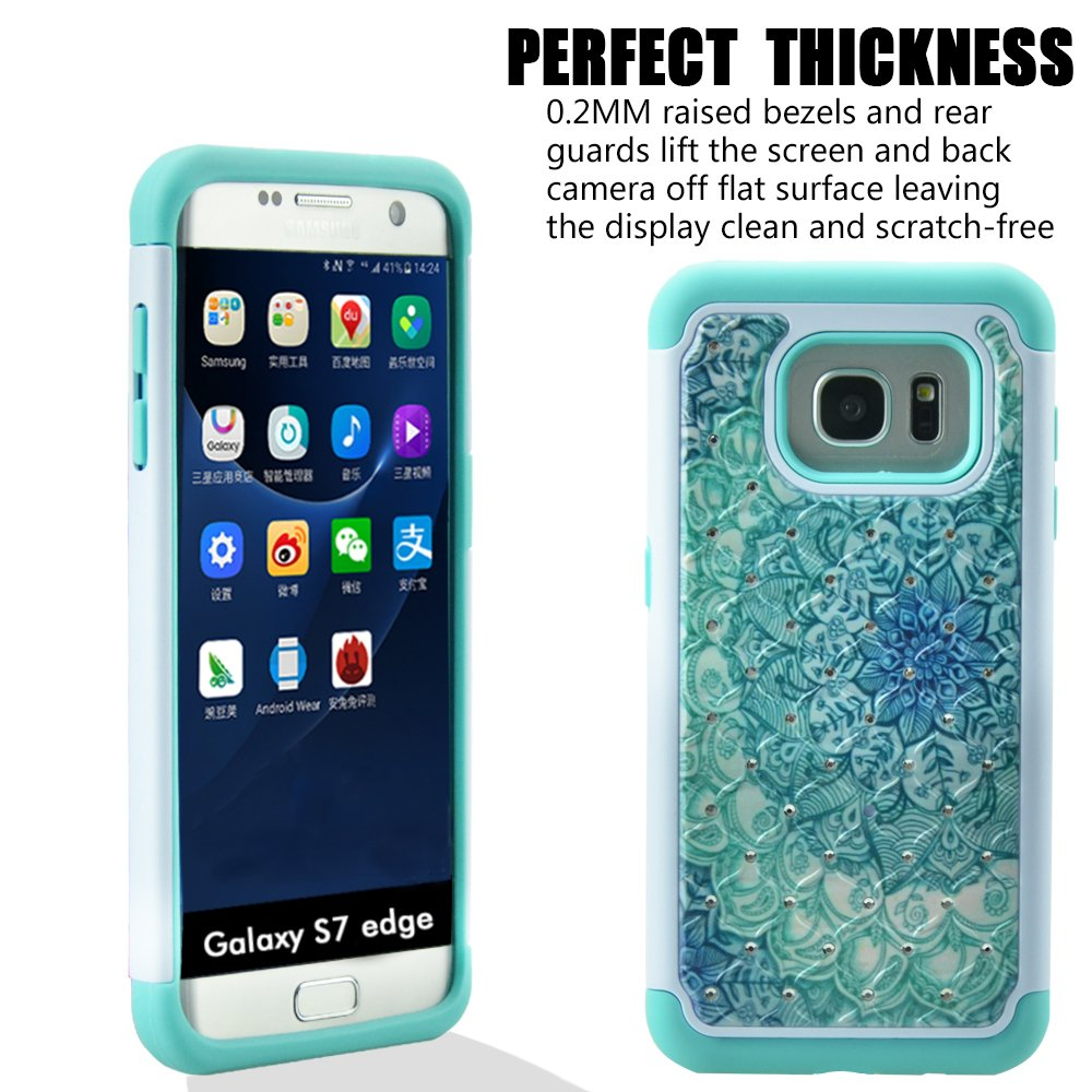 Galaxy S7 Edge Case, MagicSky [Shock Absorption] Studded Rhinestone Bling Hybrid Dual Layer Armor Defender Protective Case Cover for Samsung Galaxy S7 Edge (Flower)