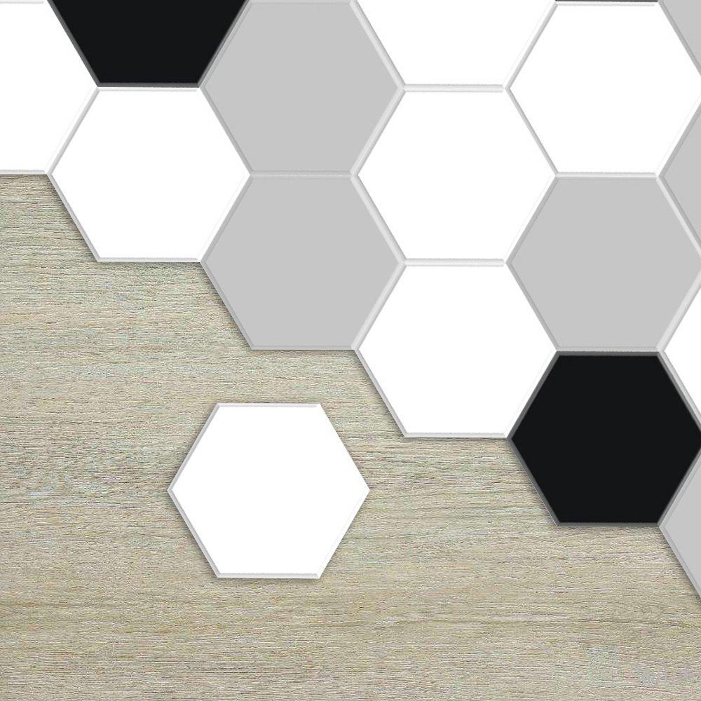 APSOONSELL Carrelage Adhesif Cuisine Hexagonal Autocollant à Motifs Moderne en Noir et Blanc Longueur: 11.5cm diamètre: 23cm(10pièce par pack)