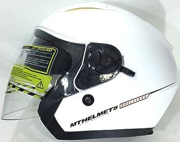 Amazon.es: Casco de la Motocicleta MT BOULEVARD Cascos Abiertos Blanco (XL)