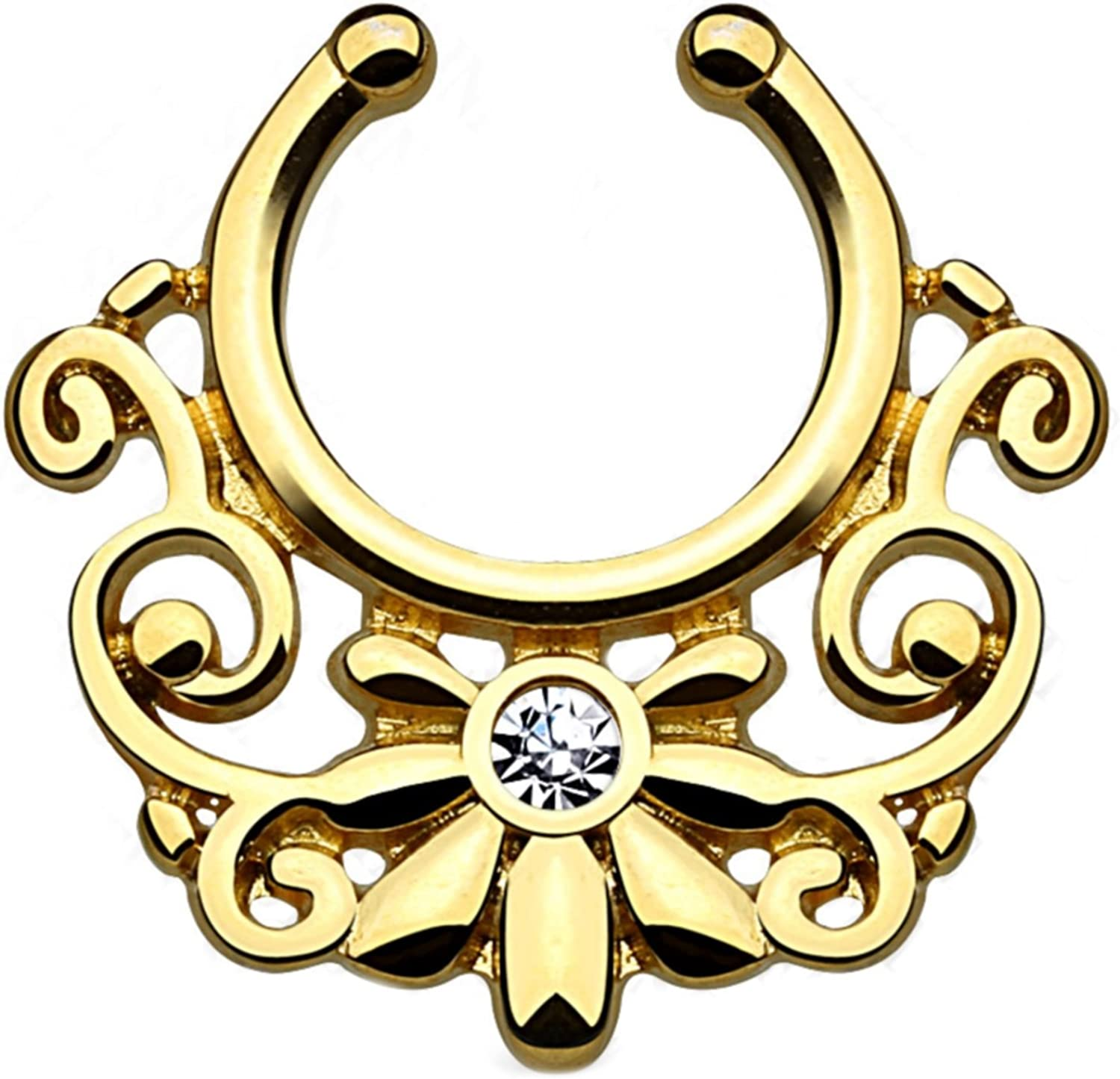 Antique Brass Tone Steel Ornate Tribal Style Septum Hanger Non-Piercing Clip On Jewelry