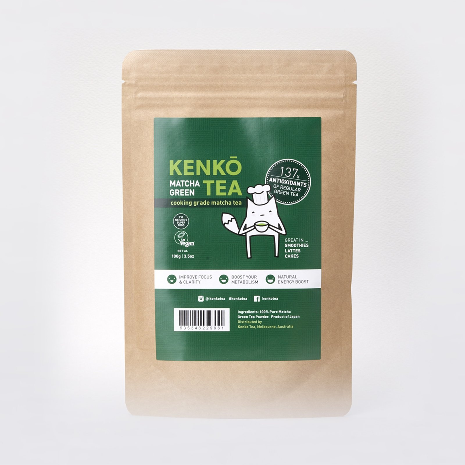 Matcha Green Tea Powder - Premium Japanese by Kenko Tea (Culinary Grade 100g) by Kenko Tea