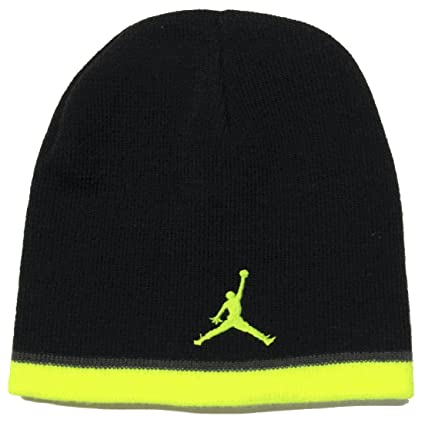 0017f27c7d3a70 Amazon.com  Nike Air Jordan Jumpman Youth Black Volt Knit Skull Cap (8 20)   Sports   Outdoors