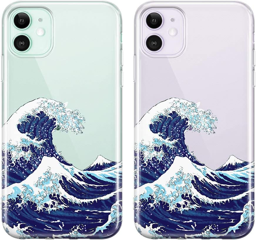 uCOLOR Ocean Case for iPhone 11 (6.1 inch) Japanese Wave Thin Slim Hybrid Case Hard PC with Soft TPU Bumper Anti-Scratch Protective Crystal Clear Case for iPhone 11 XIR 6.1 inch 2019