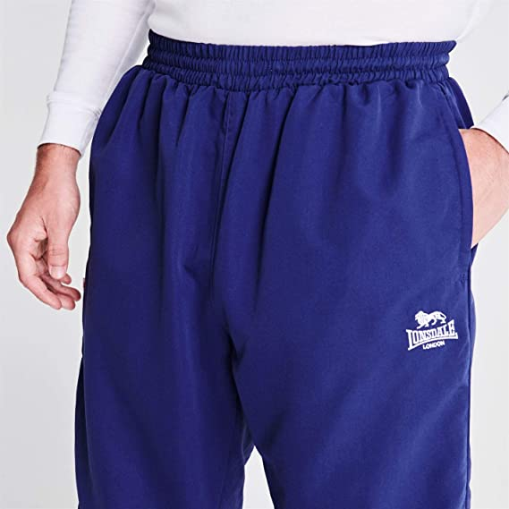 Lonsdale Mens Cuffed Hem Woven Pants Tracksuit Bottoms Zip Mesh Warm Drawstring