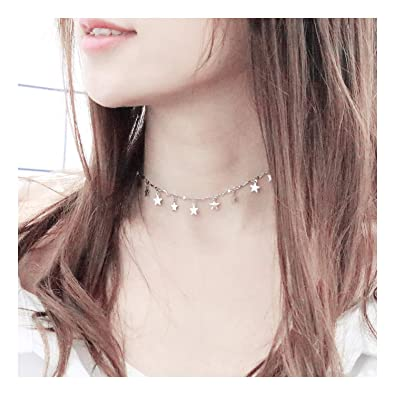 e31d1675349f EGOO&YAMEE Layered Star Necklace Pendant Handmade White Gold Plated Dainty Gold  Choker Long Necklace for Women