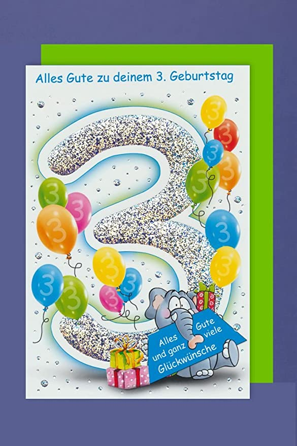 Avancarte Gmbh Grußkarte 3 Geburtstag Karte Kinder Ballons