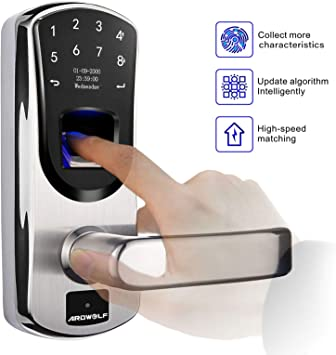 Ardwolf A60 Biometric Door Lock, Keyless Entry Fingerprint and Keypad Electronic Smart Locks