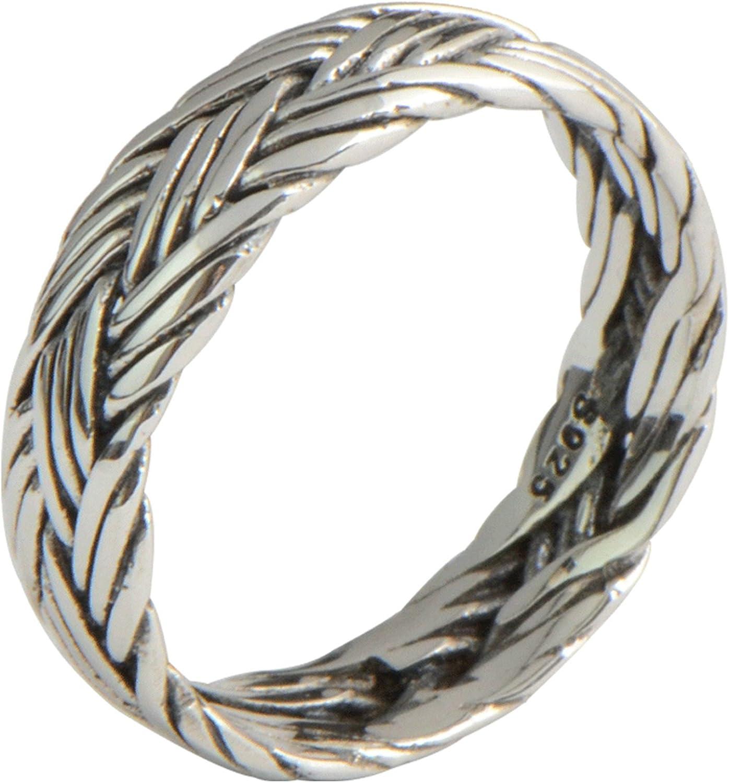 Bishilin Ring for Men Sterling Silver Weave Pattern Partner Friendship Ring Silver Size 14