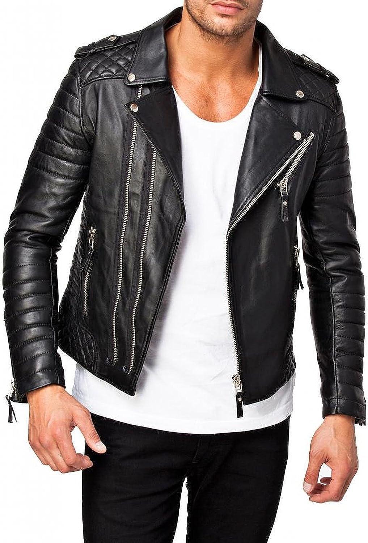 Lasumisura Mens Black Genuine Lambskin Leather Jacket 1510073