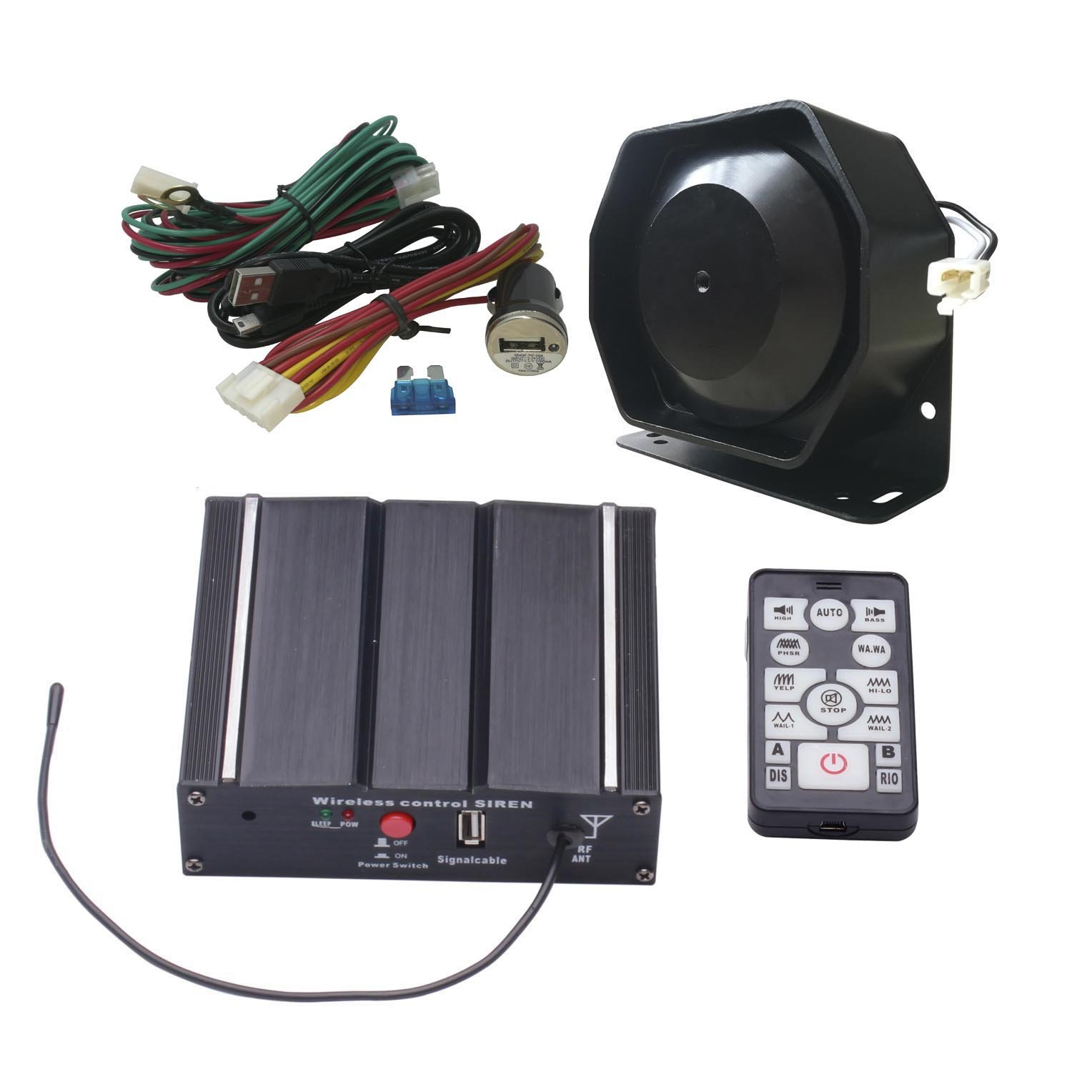Amazon.com: AS 100W Police Car Siren Speaker System with Wireless Remote  Microphone Wiring Harness Auxiliary Light Terminals 20 Tones Fit for Police  Fire ...