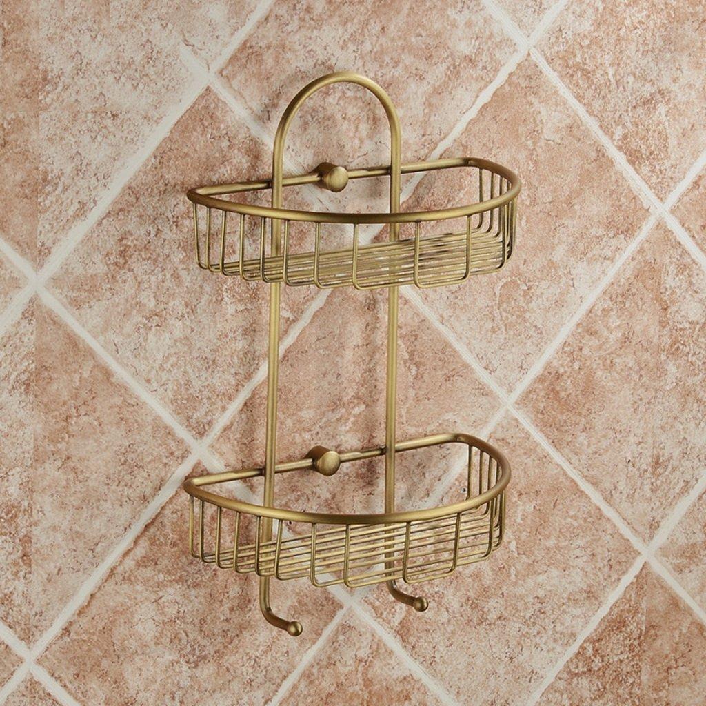 Rack shelf Bathroom Hardware Pendant Copper Bronze Square Double Basket Racks Basket With Hook European Row Hooks