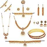 Fashion205 Multicolor Brass Metal Bharatanatyam Dance Set For Kids (10 Items)