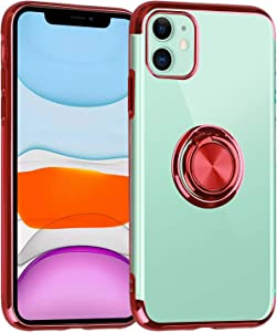 """Co-Goldguard Kickstand Designed Case for iPhone 11 Slim Cover with Built in Ring Holder Shockproof Soft TPU Bumper Secure Grip Shell for Apple iPhone 11 6.1"""",Red &Crystal Clear"""