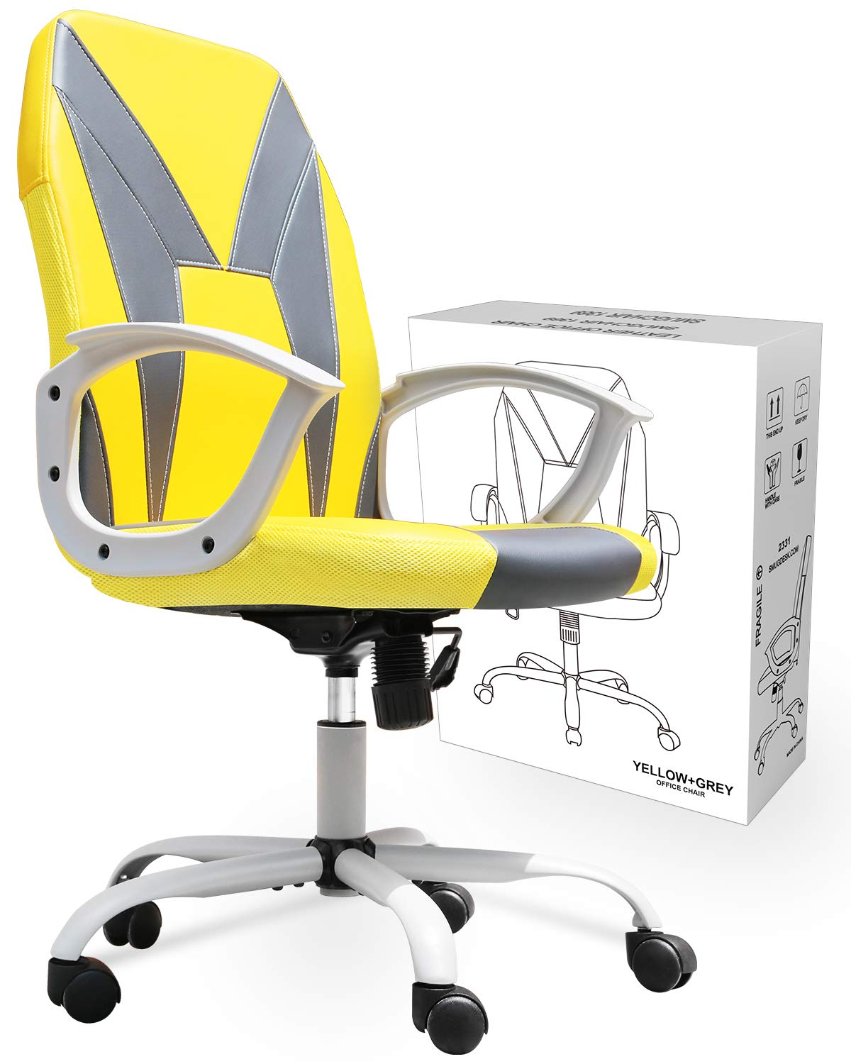 Smugchair desk Chair Ergonomic Office Chair task Chair Executive Bonded Leather Computer Chair, Yellow