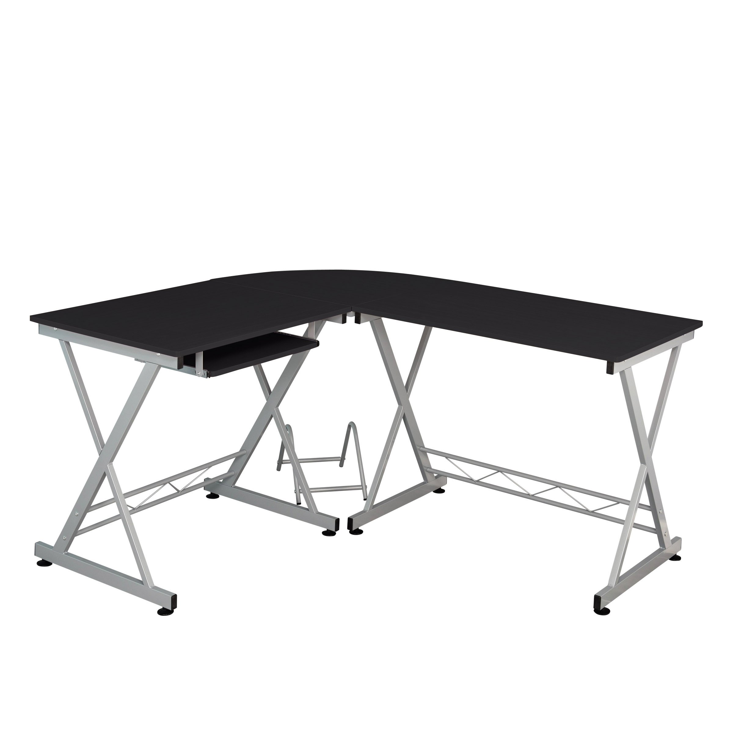 Fineboard Home Office Corner Desk, L-Shaped, Black/Silver