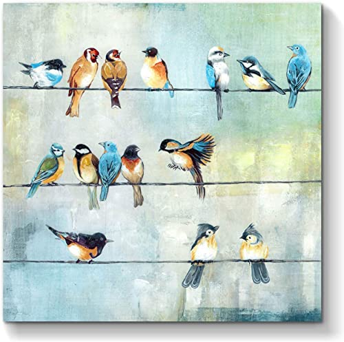 Bird Picture Canvas Wall Art Colorful Birds Painting on Canvas Artwork for Kids Bedroom 24 x 24 x 1 Panel