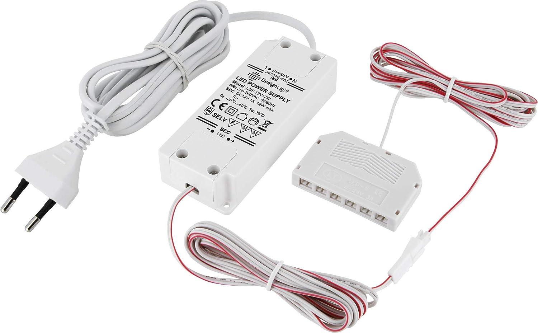 LED Trafo Netzteil 7W 6-fach-Verteiler Schalter EURO-Stecker weiß 12V MINI-AMP