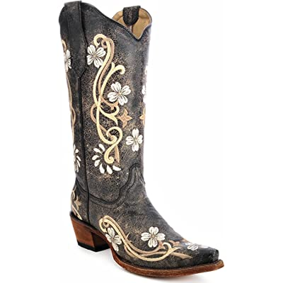 Corral Circle G Women's Multi-Colored Embroidered Genuine Brown Leather Cowgirl Boots: Clothing