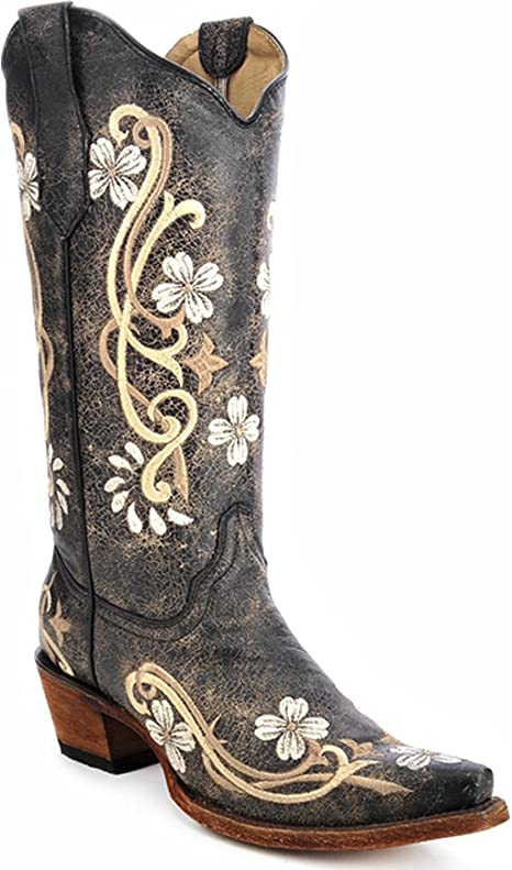 Corral Circle G Women's Multi Colored Embroidered Genuine Brown Leather Cowgirl Boots