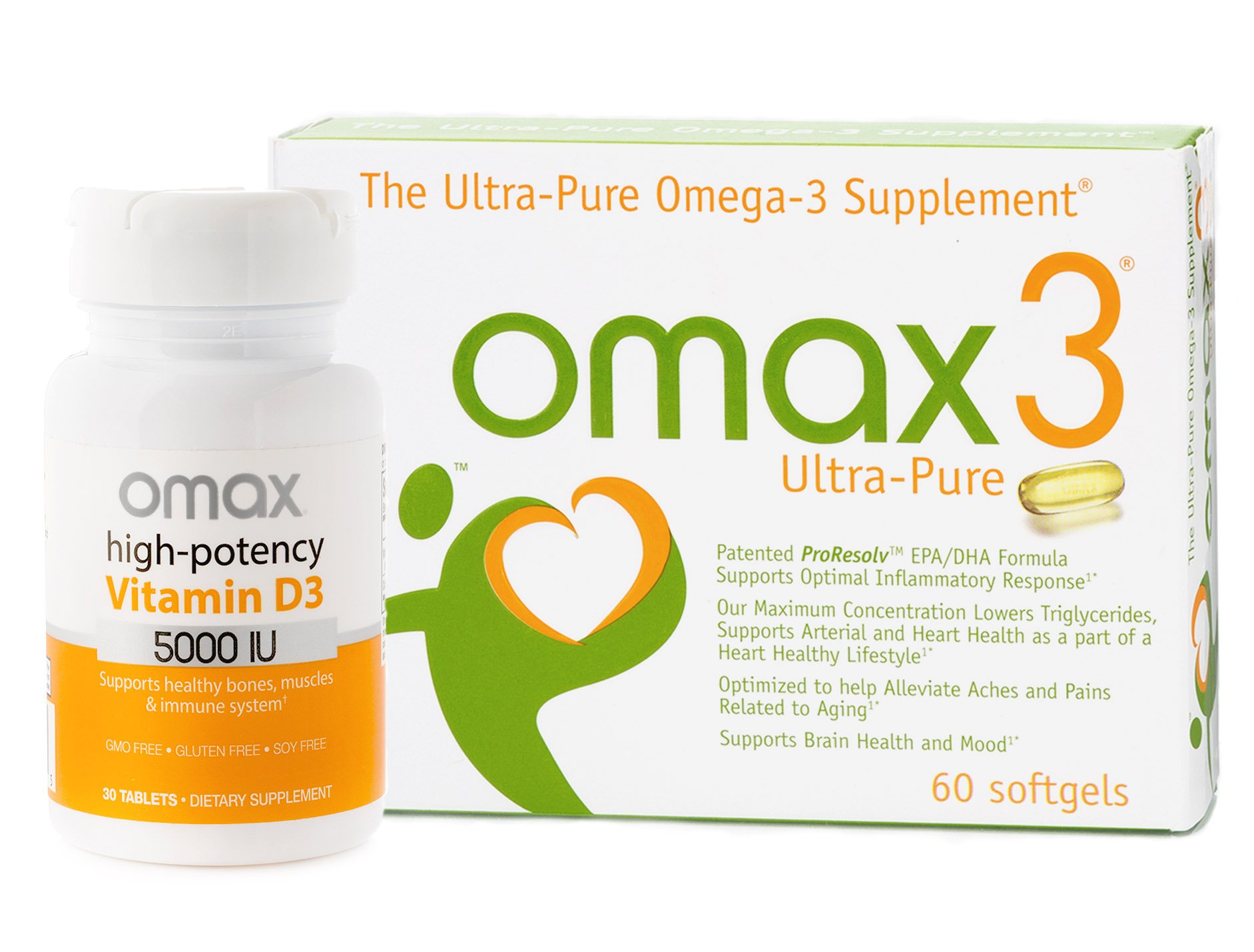 OMAX3® ✱ Bundle ✱ Ultra-Pure 93.9% Omega-3 Fish Oil plus Vitamin D3 ✱ NSF-Certified, Soy-Free, Gluten-Free, Non-GMO ✱ 30-Day Supply